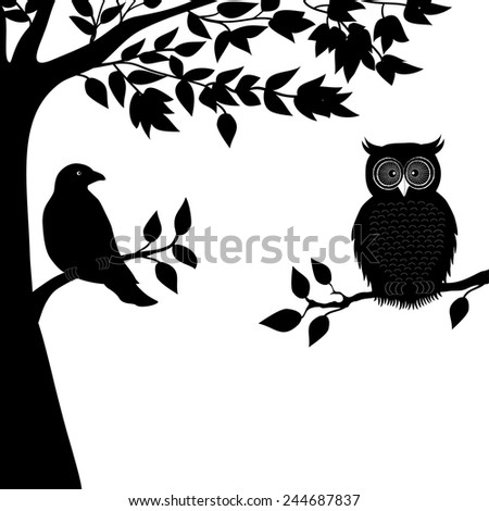 A dove and owl on branch - stock vector