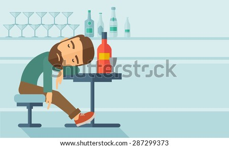 A drunk man sitting fall asleep on the table with a bottle of beer inside the pub. Over drink concept. A contemporary style with pastel palette soft blue tinted background. Vector flat design - stock vector