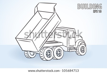 A dump truck is dumping - stock vector