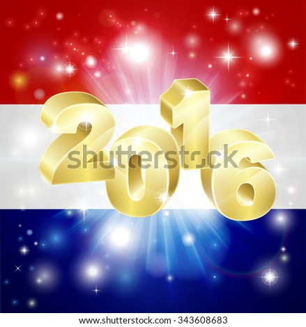 A Dutch flag with 2016 coming out of it with fireworks. Concept for New Year or anything exciting happening in the Netherlands in the year 2016. - stock vector