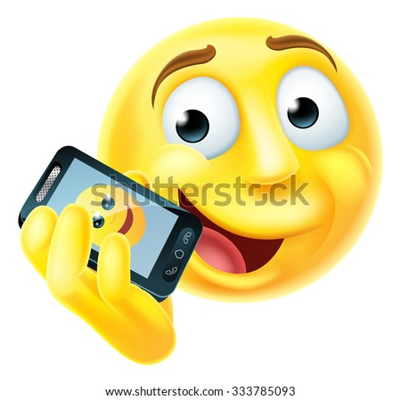 A emoji emoticon smiley face character talking happily on a mobile phone or cell phone - stock vector