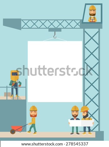 A experienced team workers with white board wearing helmets . A Contemporary style with pastel palette, soft blue tinted background. Vector flat design illustration.Vertical layout. - stock vector