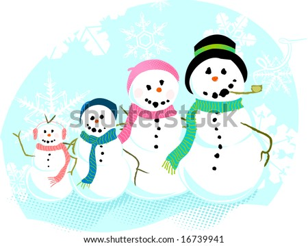 A family of snowmen pose for a portrait. - stock vector