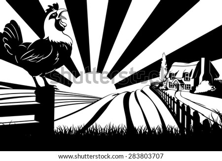 A farm house thatched cottage in an idyllic landscape of rolling hills with rooster or cockerel crowing in the foreground - stock vector