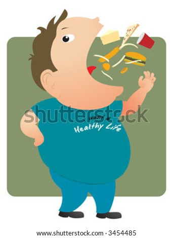 A fat man eating junk food - stock vector