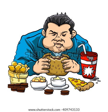A fat man with the fast food.  - stock vector