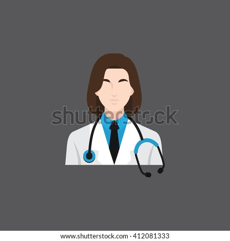 A female avatar of professions people. Flat style icons. Occupation avatar. Female doctor icon. Vector illustration - stock vector
