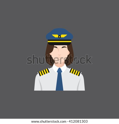 A female avatar of professions people. Flat style icons. Occupation avatar. Female pilot icon. Vector illustration - stock vector