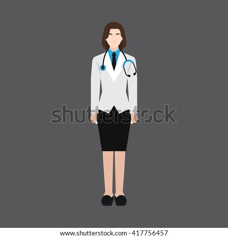 A female avatar of professions people. Full body. Flat style icons. Occupation avatar. Female doctor icon. Vector illustration - stock vector
