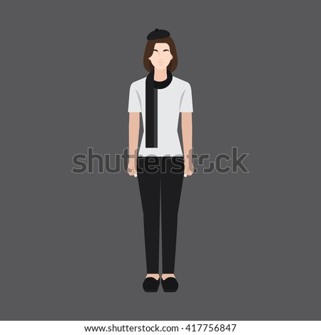 A female avatar of professions people. Full body. Flat style icons. Occupation avatar. Female artist icon. Vector illustration - stock vector