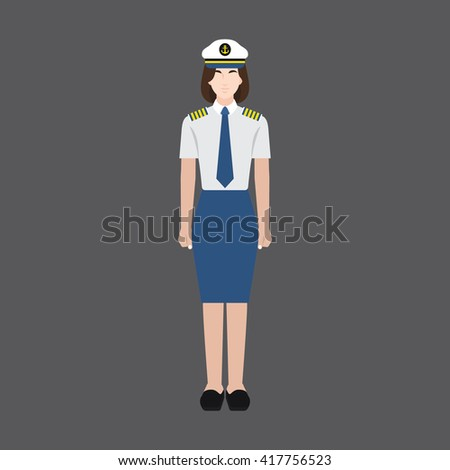 A female avatar of professions people. Full body. Flat style icons. Occupation avatar. Female ship captain icon. Vector illustration - stock vector