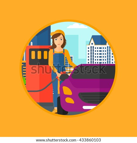 A female worker filling up fuel into the car. Worker in workwear at the gas station. Gas station worker refueling a car. Vector flat design illustration in the circle isolated on background. - stock vector