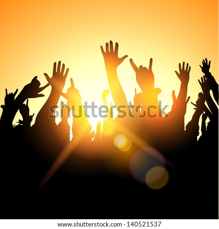 A festival crowd,  Vector illustration - stock vector