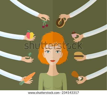A few hands offers women a healthy and junk food. Flat style, vector illustration - stock vector