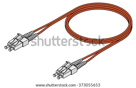 A fibre channel optical data communications cable with LC connectors. - stock vector