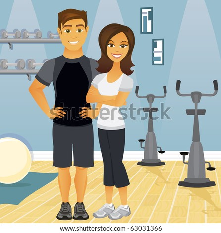 A fit couple in an indoor gym setting, representing workout partners. - stock vector