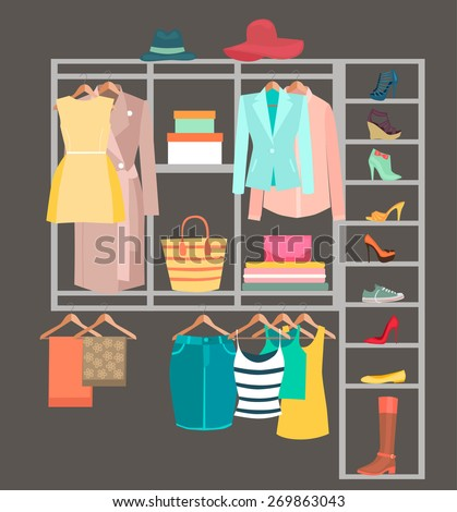 A Fitted Wardrobe filled with womans clothes,shoes,handbags - stock vector