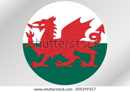 A Flag Illustration within a circle of the country of  Wales - stock vector