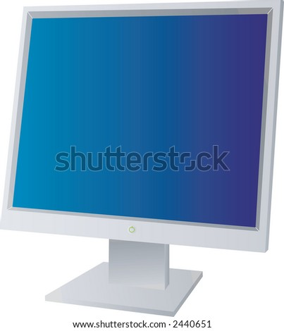 A flat screen monitor with a blue background isolated - stock vector