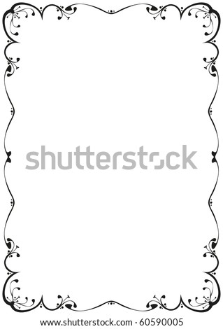 a floral frame black and white - stock vector