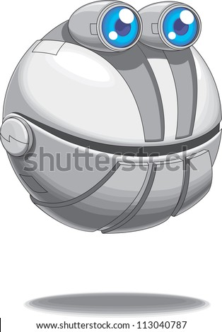 A flying cute round bot vector - stock vector
