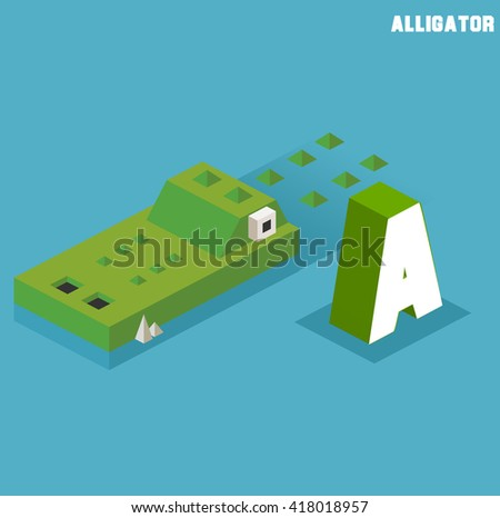 A for Alligator. Animal Alphabet collection. vector illustration - stock vector