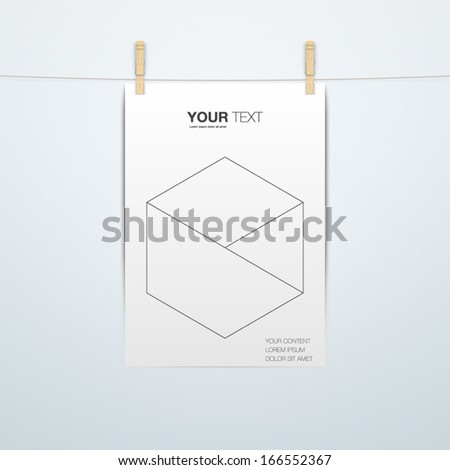 A4 Format paper design with clips and shadow Eps 10 vector illustration - stock vector