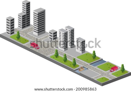 A fragment of the urban landscape with buildings - stock vector