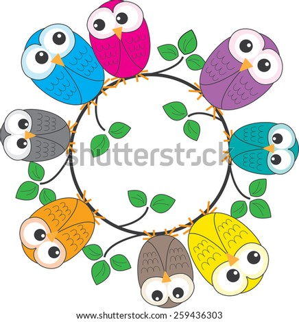 a frame of colorful owls - stock vector
