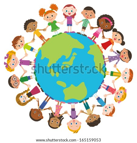 A friend and the earth of the, world - stock vector