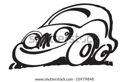 A friendly car with cute eyes - stock vector