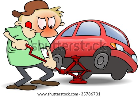A frustrated man using a jack to change a punctured tire on his red car. RGB vector illustration with shades and shadows on separate layers. - stock vector