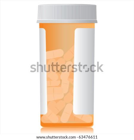 A full bottle of pills. - stock vector