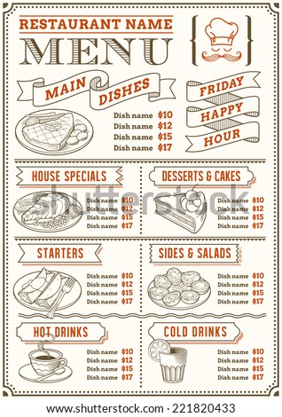 A full vector template menu for restaurant and snack bars with nice food illustrations. File is organized with layers for ease of use. - stock vector
