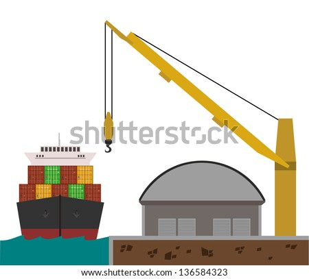 a fully editable horizontal illustration of harbor with cargo ship docking, crane and warehouse - stock vector