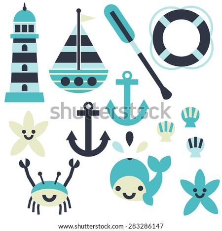 A fun nautical set with anchors, sailboats, whales, crabs, starfish, shells, and paddles. - stock vector