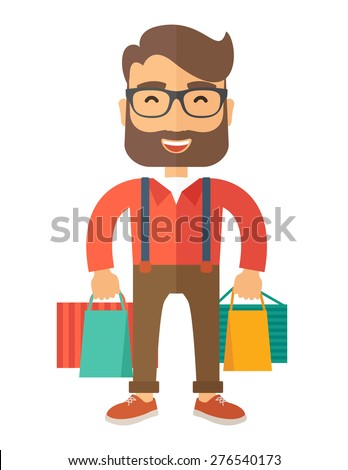 A funny businessman with shopping bags. A contemporary style. Vector flat design illustration with isolated white background. Vertical layout.    - stock vector