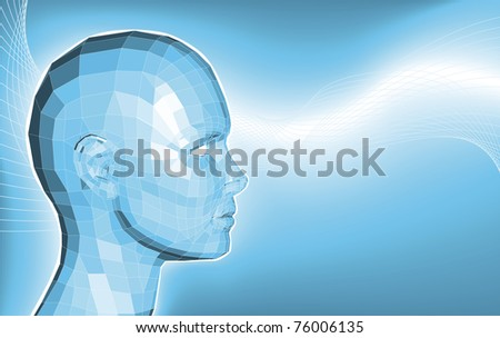 A futuristic blue business background featuring an avatars face made of polygons - stock vector