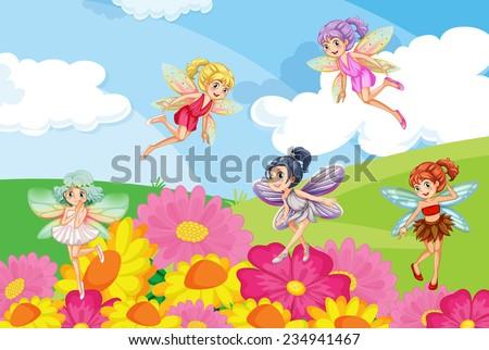 A garden with the beautiful fairies - stock vector