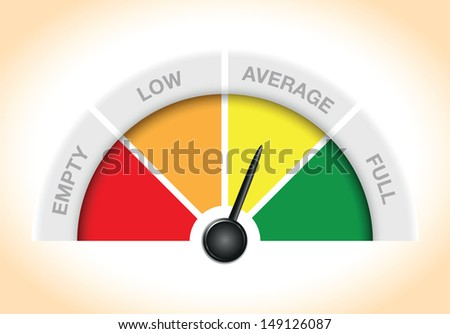 a gauge showing empty low average and full - stock vector