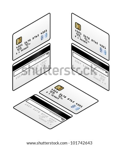 A generic credit card with a smart chip and a hologram. Fronts and backs in three isometric orientations - left, right and top. - stock vector