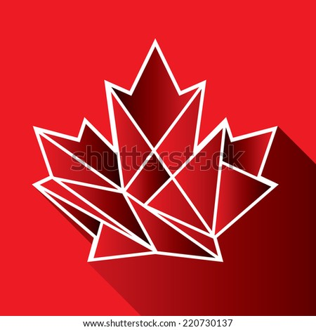 A geometric Canadian maple leaf icon on a red background with a long shadow. - stock vector