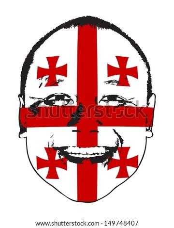 A Georgia flag on a face, isolated against white.  - stock vector