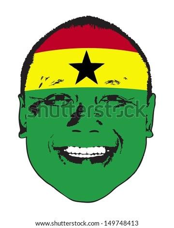 A Ghana flag on a face, isolated against white.  - stock vector