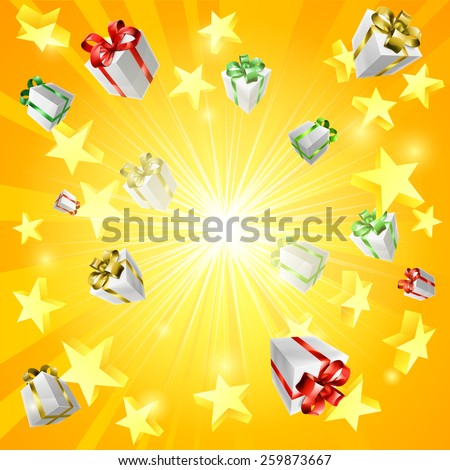 A gift present box and star jackpot or Christmas background - stock vector