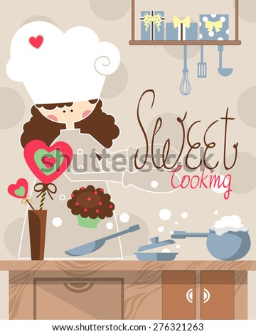 A girl baking a sweet cup cake for Valentine day in the lovely kitchen. Kitchen utensil on the wooden counter and gifts on the shelf. Suitable for a birthday, special events and party. - stock vector