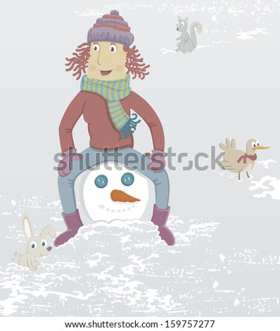 A girl is sitting on the head of a snowman. Nearby is a rabbit, a squirrel and a bird. EPS8 Illustration. - stock vector
