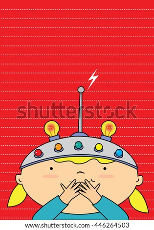 A girl wearing a thinking helmet. Red background template - stock vector