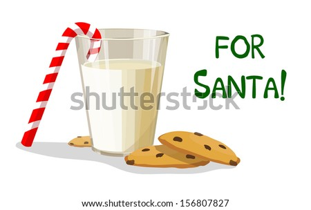 A glass of milk and cookies for Santa - stock vector
