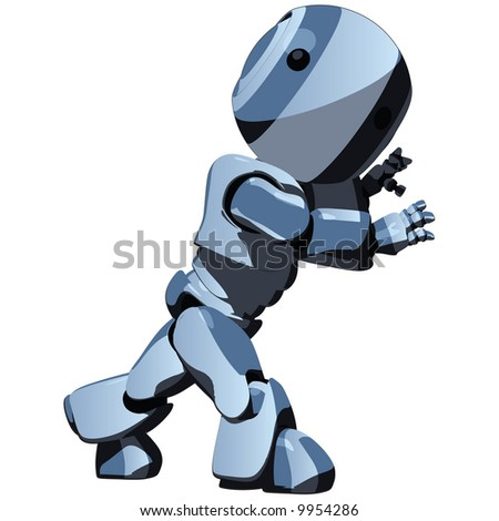 A glossy blue robot pushing an invisible object. - stock vector